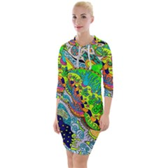 Cosmic Lizards With Alien Spaceship Quarter Sleeve Hood Bodycon Dress by chellerayartisans