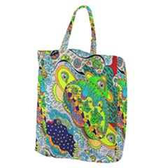 Cosmic Lizards With Alien Spaceship Giant Grocery Tote by chellerayartisans