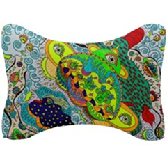 Cosmic Lizards With Alien Spaceship Seat Head Rest Cushion