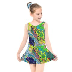 Cosmic Lizards With Alien Spaceship Kids  Skater Dress Swimsuit