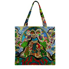 Supersonic Volcanic Sunmoon Faces Zipper Grocery Tote Bag by chellerayartisans