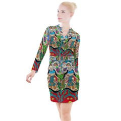 Supersonic Volcanic Sunmoon Faces Button Long Sleeve Dress