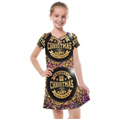 Christmas Golden Labels Xmas Kids  Cross Web Dress by Simbadda