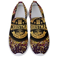 Christmas Golden Labels Xmas Men s Slip On Sneakers by Simbadda