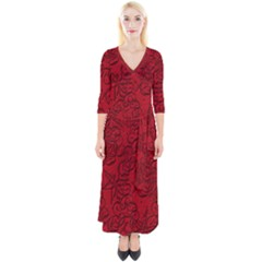 Christmas Background Red Star Quarter Sleeve Wrap Maxi Dress by Simbadda