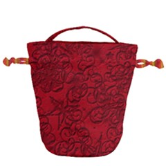 Christmas Background Red Star Drawstring Bucket Bag
