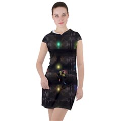 Abstract Sphere Box Space Hyper Drawstring Hooded Dress by Simbadda