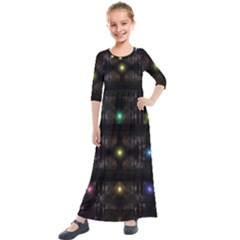 Abstract Sphere Box Space Hyper Kids  Quarter Sleeve Maxi Dress by Simbadda