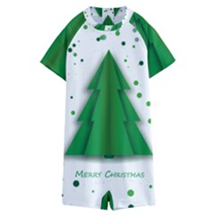 Fir Tree Christmas Christmas Tree Kids  Boyleg Half Suit Swimwear by Simbadda