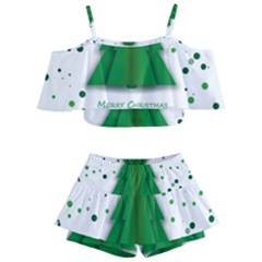 Fir Tree Christmas Christmas Tree Kids  Off Shoulder Skirt Bikini by Simbadda