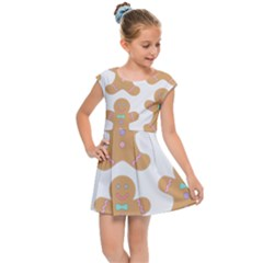 Pattern Christmas Biscuits Pastries Kids Cap Sleeve Dress by Simbadda