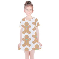 Pattern Christmas Biscuits Pastries Kids  Simple Cotton Dress