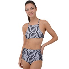 Metal Circle Background Ring High Waist Tankini Set