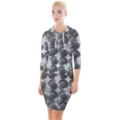 Metal Circle Background Ring Quarter Sleeve Hood Bodycon Dress
