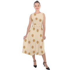 Pattern Gingerbread Star Midi Tie Back Chiffon Dress