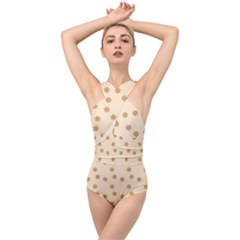 Pattern Gingerbread Star Cross Front Low Back Swimsuit by Simbadda