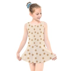 Pattern Gingerbread Star Kids  Skater Dress Swimsuit