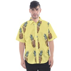 Pineapples Fruit Pattern Texture Men s Short Sleeve Shirt by Simbadda