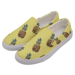 Pineapples Fruit Pattern Texture Men s Canvas Slip Ons by Simbadda