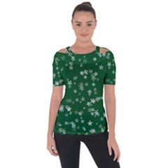 Template Winter Christmas Xmas Shoulder Cut Out Short Sleeve Top
