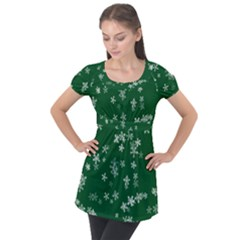 Template Winter Christmas Xmas Puff Sleeve Tunic Top