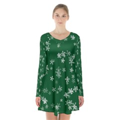 Template Winter Christmas Xmas Long Sleeve Velvet V Neck Dress