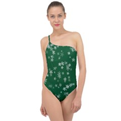 Template Winter Christmas Xmas Classic One Shoulder Swimsuit