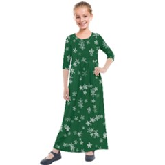 Template Winter Christmas Xmas Kids  Quarter Sleeve Maxi Dress by Simbadda