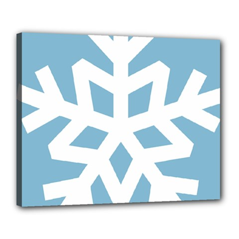Snowflake Snow Flake White Winter Canvas 20  X 16  (stretched)