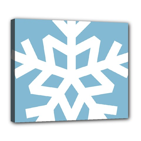 Snowflake Snow Flake White Winter Deluxe Canvas 24  X 20  (stretched)