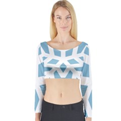 Snowflake Snow Flake White Winter Long Sleeve Crop Top