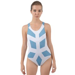 Snowflake Snow Flake White Winter Cut Out Back One Piece Swimsuit