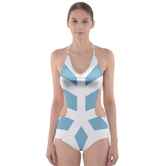 Snowflake Snow Flake White Winter Cut Out One Piece Swimsuit