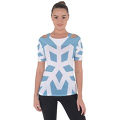 Snowflake Snow Flake White Winter Shoulder Cut Out Short Sleeve Top