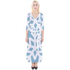 Snowflake Snow Flake White Winter Quarter Sleeve Wrap Maxi Dress by Simbadda