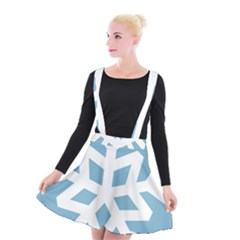 Snowflake Snow Flake White Winter Suspender Skater Skirt