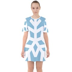Snowflake Snow Flake White Winter Sixties Short Sleeve Mini Dress