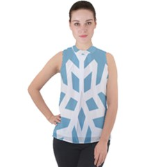 Snowflake Snow Flake White Winter Mock Neck Chiffon Sleeveless Top