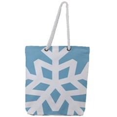 Snowflake Snow Flake White Winter Full Print Rope Handle Tote (large)