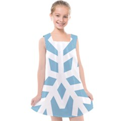 Snowflake Snow Flake White Winter Kids  Cross Back Dress