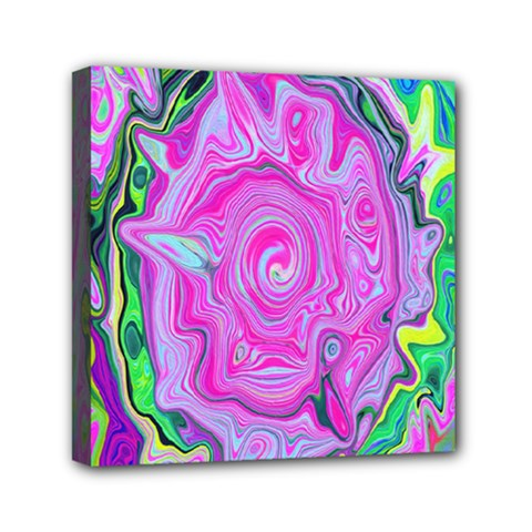 Groovy Pink, Blue And Green Abstract Liquid Art Mini Canvas 6  X 6  (stretched) by myrubiogarden