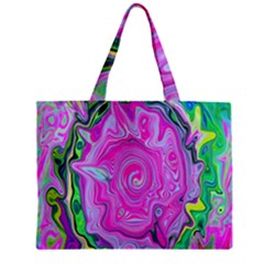 Groovy Pink, Blue And Green Abstract Liquid Art Zipper Mini Tote Bag