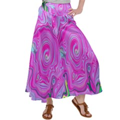 Groovy Pink, Blue And Green Abstract Liquid Art Satin Palazzo Pants by myrubiogarden