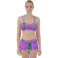 Groovy Pink, Blue And Green Abstract Liquid Art Perfect Fit Gym Set