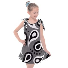 Paisley White And Black Kids  Tie Up Tunic Dress