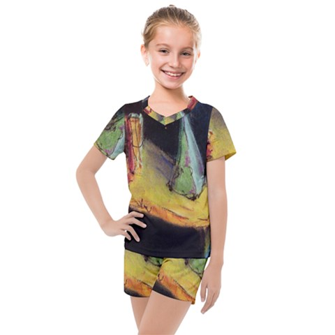 Cosmicchristmastree Kids  Mesh Tee And Shorts Set by chellerayartisans