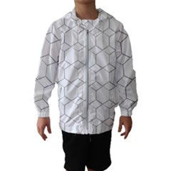 Honeycomb Pattern Black And White Hooded Windbreaker (kids)