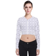 Honeycomb Pattern Black And White Zip Up Bomber Jacket