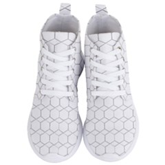 Honeycomb Pattern Black And White Women s Lightweight High Top Sneakers