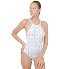Honeycomb Pattern Black And White High Neck One Piece Swimsuit